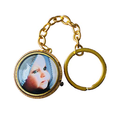 Personalisierte Foto-Taschenuhr Retro Taschenuhr-graviertes Foto-Geschenk(Gold Einheitsgröße)