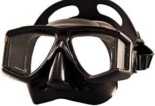 New Tilos Double Lens Panoramic View Scuba Diving & Snorkeling Mask (Black Frame/Black Silicone)