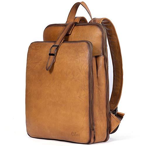 CLUCI Damen Rucksack Echtleder Groß Laptoptasche für 15.6 Zoll Laptop Frauen Reisetasche Vintage Businesstasche Schultertasche Gelb