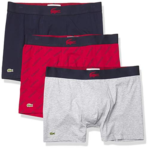 Lacoste Underwear Men's Casual All Over Wording Print 3Pack Cotton Stretch Boxer Briefs, Alizarin/Navy Blue-Silver, S