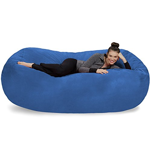 Sofa Sack - Plush Bean Bag Sofas with Super Soft Microsuede Cover - XL Memory Foam Stuffed Lounger Chairs for Kids, Adults, Couples - Jumbo Bean Bag Chair Furniture - Royal Blue 7.5'