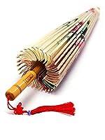婦人傘日傘中国風の傘シルクダンス日本の装飾的な木の傘ロータスオイルペーパー傘 (Color : Coffee)