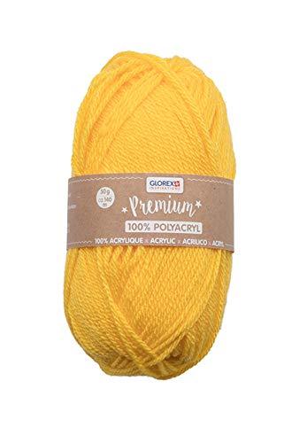 Glorex 5 1001 01 - Premium Wolle aus 100 % Acryl, leicht zu verarbeiten, vielseitig einsetzbar, wärmend, weich, nicht kratzend, 50 g, ca. 140 m, gelb