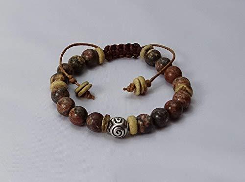 Rhodonit Naturstein Shamballa-Armband mit tibetisches Symbol Perlen, Sabijou