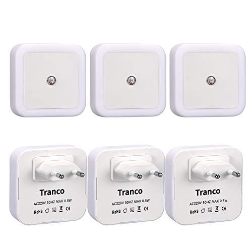 Tranco 6 Stück LED Nachtlicht 0,5W energiesparend Steckdosenlicht mit Dämmerungssensor automatisch Orientierungslicht Helligkeitsensor Leuchte 5000K (Kaltweiß)