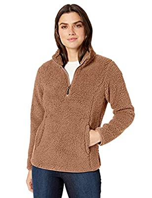 Amazon Essentials Women's Polar Fleece Lined Sherpa Quarter-Zip Jacket, Tan, Medium