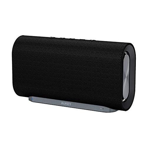 Aukey Eclipse Haut-parleur sans fil 20W avec 12 heures de lecture, basses améliorées avec double radiateur passif et surface en tissu tissé pour Echo Dot, téléphones Android et plus (mise à niveau)