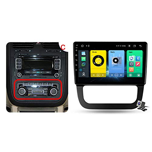 Buladala Android 10 GPS Navigation Stereo Radio para VW Jetta 5 2005-2010, 10,1' Pantalla Coche Media Player Soporte Carpaly/5G FM RDS/Control Volante/Bluetooth Hands-Free,Model c,7862: 6+128