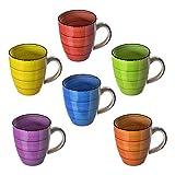esto24 Design 6er Set Kaffeebecher Porzellan 350ml in tollen Farben für Ihr liebstes Heißgetränk für Kaffee, Cappuccino und Latte Macchiato (Bunt) - 5