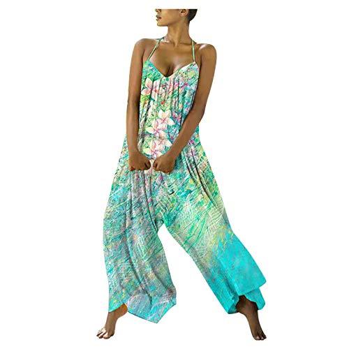 riou Pantalones Monos Largos de Mujer Verano 2021 Casual Ropa de Mujer Sin Tirantes Estampado Flores Pantalones de Vestir Pantalones Anchos Cintura Alta Fiesta