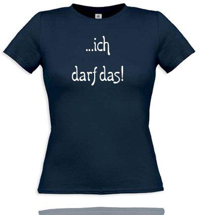 ich darf das. Women T-Shirt Gr. S - Navy/Weiss