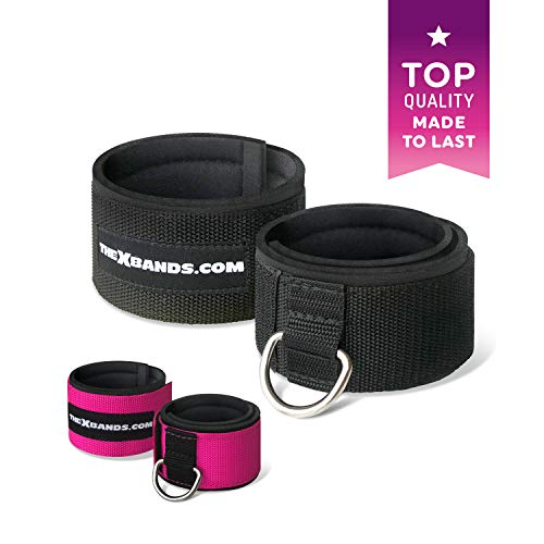 The x Bands - Ankle Cuff for Cable Machine - Ankle Straps - Gym Ankle Strap for Cable Machine - Neoprene Booties - Xbands Resistance Bands - X Bands Booty Bands - Ankle Workout Strap - Black