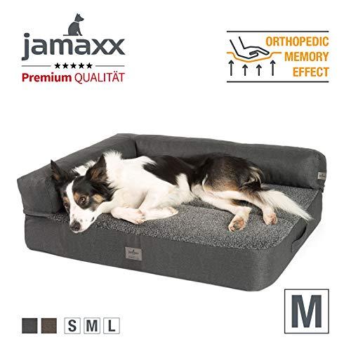 JAMAXX Premium 2-in-1 Hunde-Sofa - Orthopädische Memory Visco Füllung, Abnehmbare Polster und Waschbarer Bezug, Hochwertiger Stoff Lammfell/Sherpa, PDB3014 (M) 90x70 anthrazit