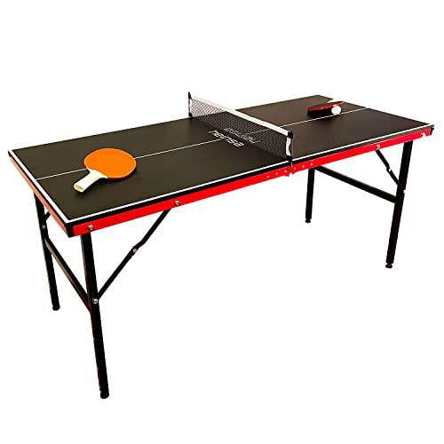 heinsa Premium Mini Tischtennisplatte Indoor - Tischtennisplatte klappbar mit Tischtennisschläger und Tragetasche - Midi Tischtennistisch zusammenklappbar 150 x 67 x cm