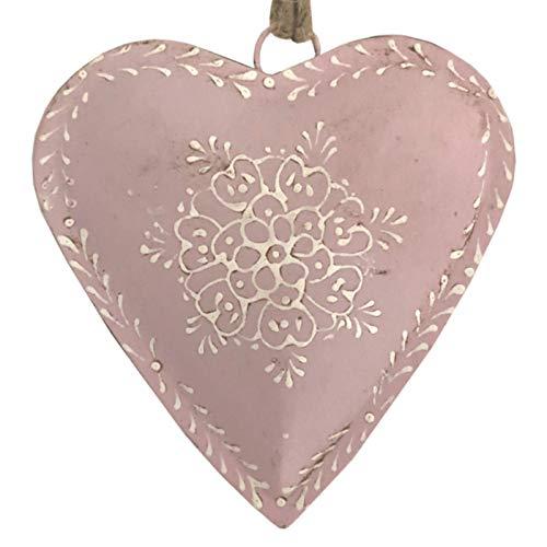 L'ORIGINALE DECO Grand Cœur à Suspendre en Métal Fer Patiné Rose 21 cm x 21 cm