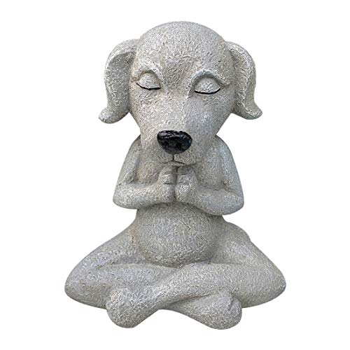 Buddha Dog Statue Yoga Zen Dog Sculpture Sitting Figurine Lawn Ornament Outdoor Decorations for Porch and Yard Cafele (☛7 x5.5x3.9inches)