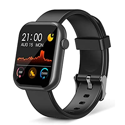 Smart Watch,Fitness Tracker with Heart Rate Monitor,IP67 Waterproof Fitness Watch with Pedometer,Smartwatch Compatible with iOS, Android for Men, Women,Black