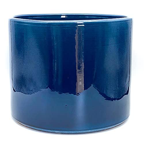 Maceta Artesanal de Barro, Modelo Tubo esmaltada en Azul Ravel