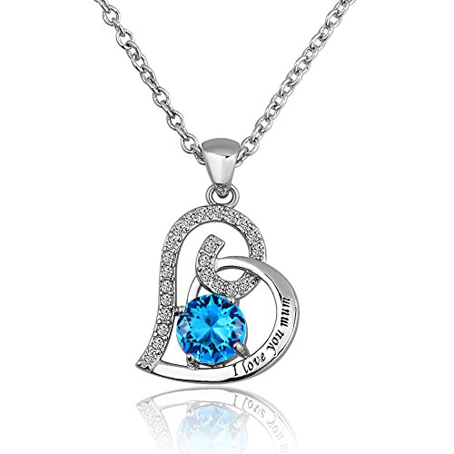 UNIQUEEN Blue Heart Crystal Birthstone I Love You Mum Pendant Necklace Chain