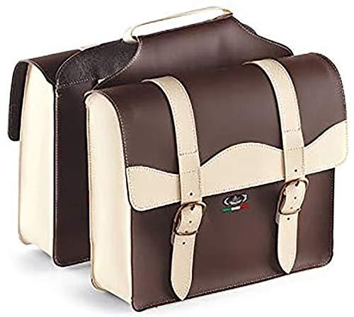 Tasche aus Leder mit Doppeltasche Gepäckträger Topcase 0024/V Monte Grappa Dunkelbraun / Creme - Made in Italy