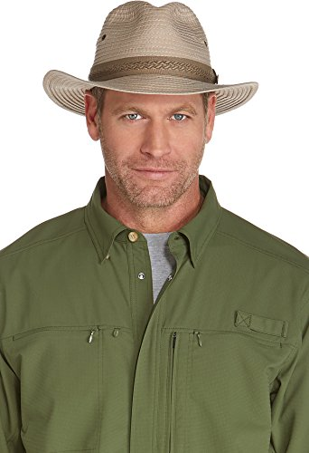 Coolibar UPF 50+ Men's Packable Travel Fedora - Sun Protective, Khaki, Large