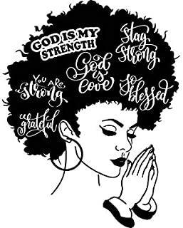 Yetta Quiller Afro Woman Praying Lord Queen Natural Afro Hair African American Female Lady Vector Clipart Digital Circuit Vinyl Wall Decor Cutting