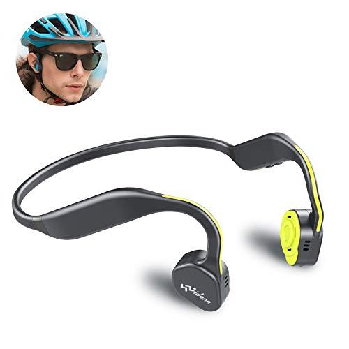 VIDONN F1(Gelb) Titanium Open-Ear Kopfhörer (Bone Conduction Technologie),kabellos mit Bluetooth und Mic für Laufen Radfahren Wandern