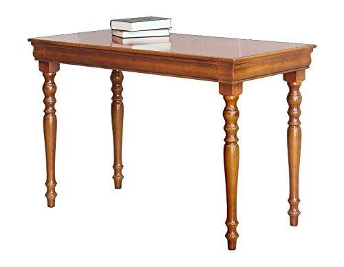 Bureau Classique en Bois Style Louis Philippe avec tiroir, merisier, Petit Espace, Petite Chambre, Largeur 110 cm, Pas Cher, écritoire