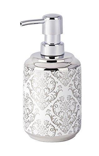 WENKO Seifenspender Barock Keramik - Flüssigseifen-Spender, Spülmittel-Spender Fassungsvermögen: 0.4 l, Keramik, 8 x 16.5 x 9 cm, Weiß