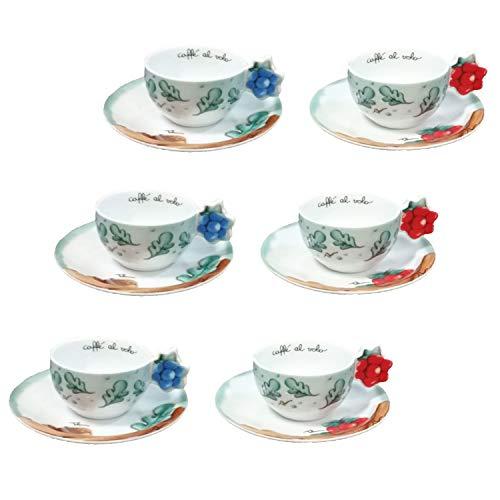 THUN ® - Set 6 Tazzine caffè - Linea Preludio d'inverno - Porcellana - 60 ml - Ø 7 cm