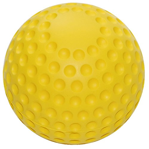 Soft PU zachte schuimballen in golfbaldesign geel 7 cm Ø