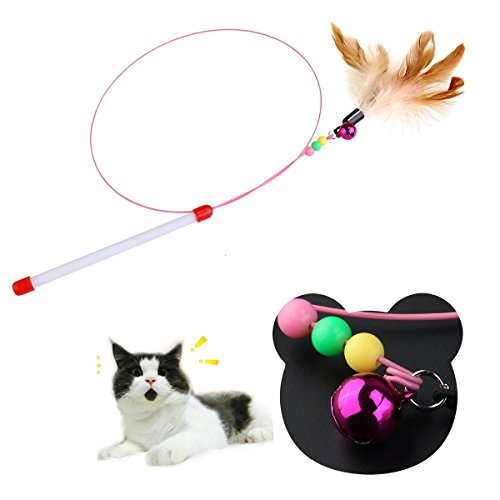Tinksky Kitten Cat Pet Toy Wire Chaser Wand Teaser Feather With Bell Beads Play Fun Gifts for your lovely cat (Random colour)