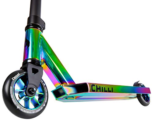 Chilli Pro Scooter Stunt-Scooter H=82cm Trick Tret Roller + Fantic26 Sticker (Rocky Rainbow Neochrome)