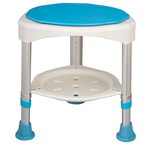 LARS360 360° Drehbarer Duschhocker Medical Duschstuhl Duschhilfe Duschsitz Badsitz Duschhocker aus Aluminium & HDPE Höhenverstellbar mit Anti-Rutsch und Abnehmbarer Ablage, bis 120KG Belastung