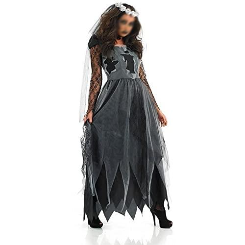 LUONE Disfraz de Novia de Vampiro Europeo de Halloween, Hermoso Juego de Juegos de rol de seora, Sexy Vestido de Traje de Diablo Sexy para Adultos Cosplay,Negro,XL