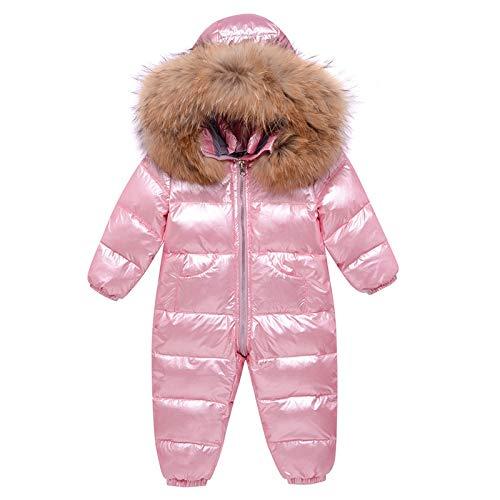 Traje de Esquiar Traje -30 Grados del bebé del Invierno del Snowsuit Piel Real Impermeable Niños bebés Invierno recién Nacido Mamelucos del Mono del niño de la Nieve Chaqueta de Esquí