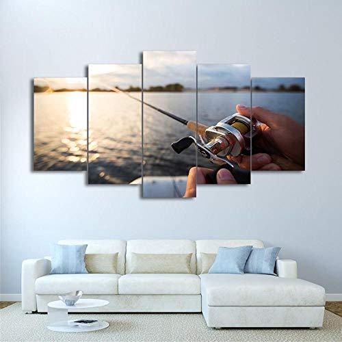 JJJKK Cuadro sobre Lienzo - 5 Piezas - Cuadro en Lienzo 5 Piezas - Pesca en el Lago Atardecer - Listo para Colgar - Obra De Arte Cartel - en un Marco
