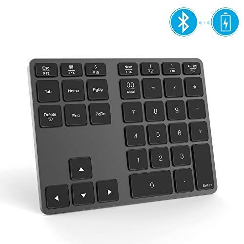 Jelly Comb Bluetooth Ziffernblock, Kabellose Schnurlose Nummernblock, Wireless Keypad Numpad mit 35 Tasten für PC, Laptop, MacBook, Tablet mit Windows/MacOS/Android, Grau