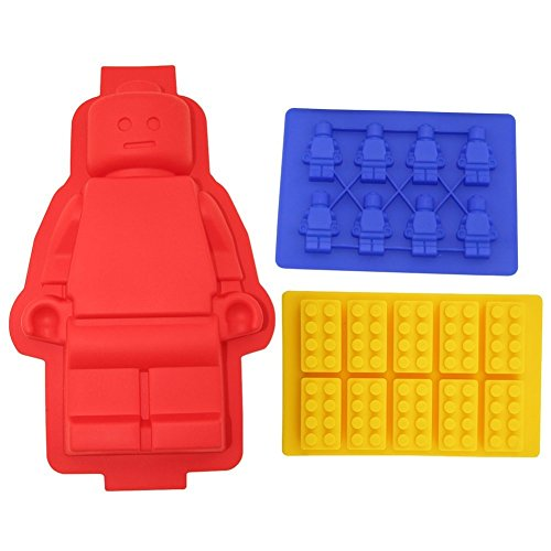 Silicone Minifigure Cake Pan, Bricks Mold and Minifigure Mold or Ice Tray