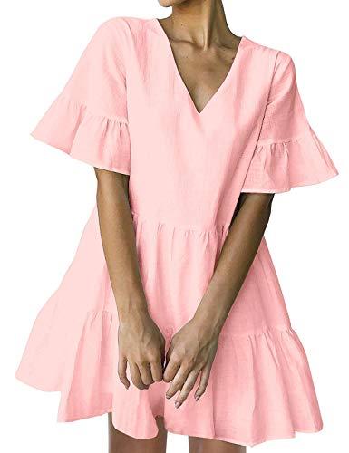 FANCYINN Sommerkleid Damen Kurz Tunika Kleid V-Ausschnitt Volant Lockeres Swing Mini Kleider Rosa