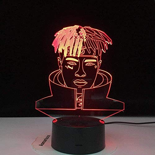 3D LED Night Light Rapper XXX Tentacion Doll Jahseh Dwin Pays Tribute to The Music to Commemorate Music Fans Touch Switch 7 Color Change USB Desk lamp Visual Effects