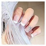 Wuxun-Nail Moda señoras Falsas uñas 24 unids/Set Nude Pink French Nax Fax Fashing Inlay Acabado Cubierta Completa Consejos de Cubierta de la uña
