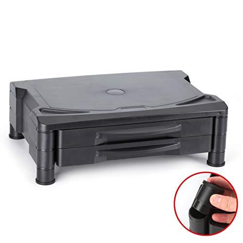 Ajustable soporte de monitor/elevador con dos cajones, se ajusta a 2alturas, 39.4x 29.2cm para LCD TV de visualización plana, Fax, impresora, Video game,...