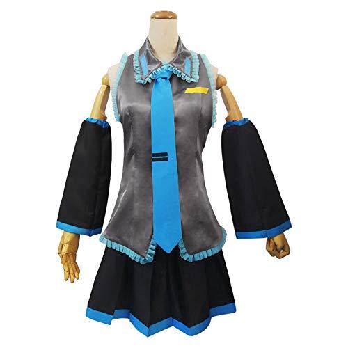 EDMKO Mujer De Halloween Cosplay Show Disfraz Traje Anime Vocaloid Hatsune Miku Vestido Medio Ropa Conjunto, Solo Conjunto De Disfraces,XXL