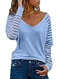 Dokotoo Mujer Camiseta de Manga Larga Azul Elegante Blusas Primavera Otoño Básico Cuello en V Camisa Jersey Tops Medium