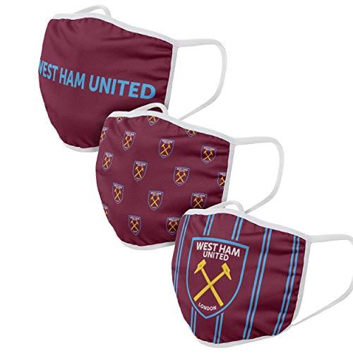 Forever Collectibles UK West HAM United FC - Confezione da 3 rivestimenti per viso stampati