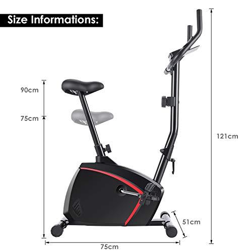 415UTajBBKL - ANCHEER Bicicleta de Fitness 10 Niveles de Resistencia Magnética, Bicicleta Estática con Pantalla LCD, Bicicleta Ejercicio en Casa Soporte para Movil/iPad, Mango de Impulso, Carga Máxima: 120KG