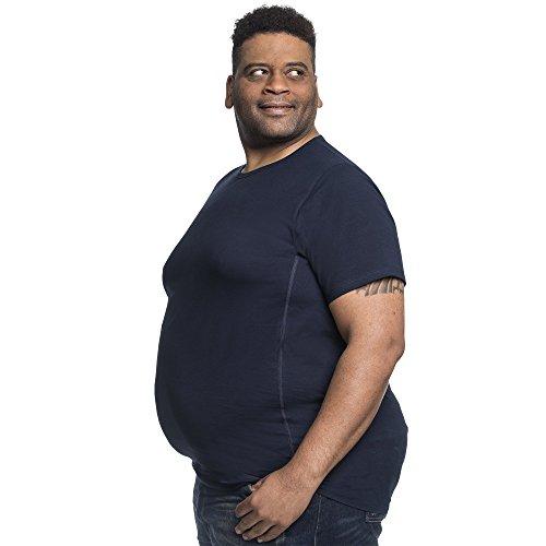 T Shirt Herren 4XL Rundhals Doppelpack Basic T-Shirt - Übergrößen bis 8XL für Männer mit Übergröße Bauchumfang,Blau