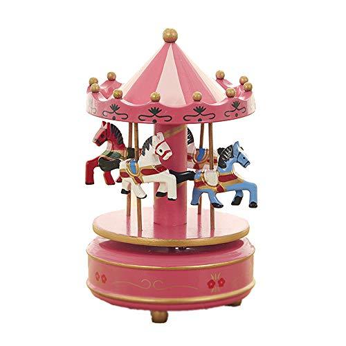 SODIAL Carrusel Musical De Caballo Juguete De Carrusel De Madera Caja De M/úsica para Los Ni?o Beb/é Azul Claro