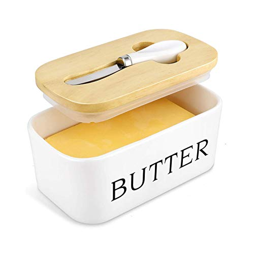 AJGH Porcelain Butter Dish,Porcelain Butter Dish with Knife & Wooden Bamboo Lid,Large Butter Container Butter Holder Keep Suitable for Kitchen Butter and Cheese